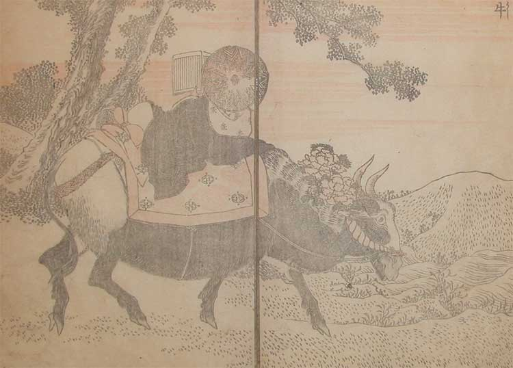 Reading On An Ox by Katsushika Hokusai (1760-1849, Japan)