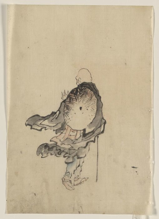 Rear View Of A Traveler Or Monk Wearing Cape And With Large Conical Hat On His Back by Katsushika Hokusai (1760-1849, Japan)