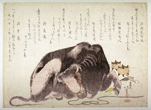 Katsushika Hokusai - Reclining Ox And Spools Of Thread