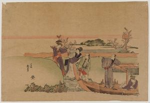 Order Oil Painting : Reluctant Woman Boarding A Boat by Katsushika Hokusai (1760-1849, Japan) | WahooArt.com