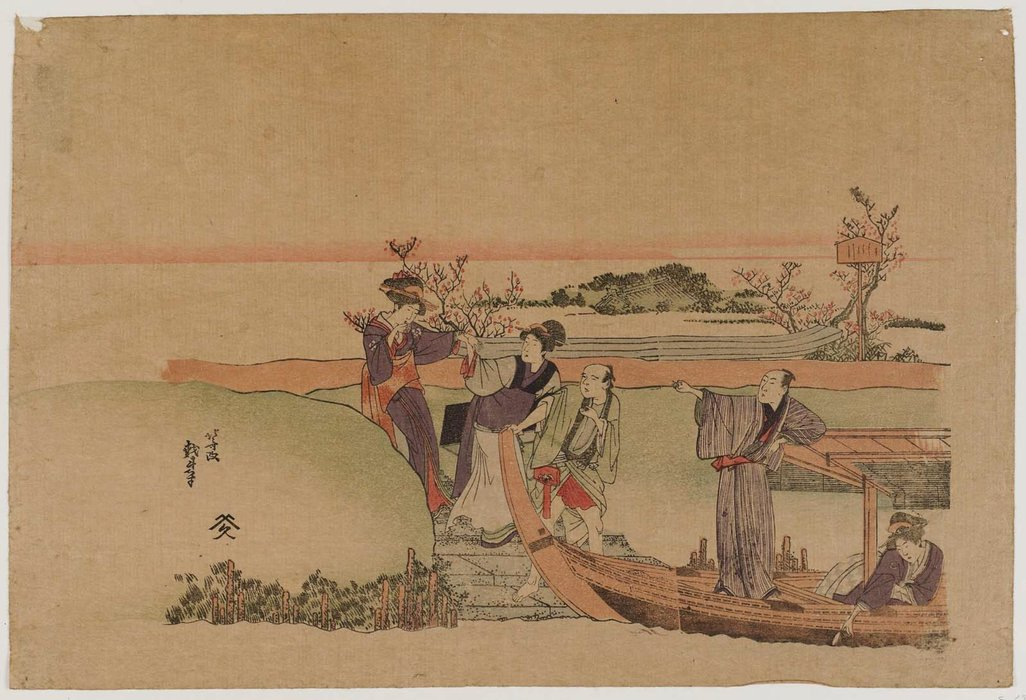 Reluctant Woman Boarding A Boat by Katsushika Hokusai (1760-1849, Japan) | WahooArt.com