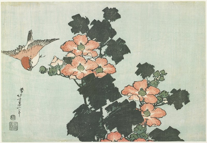 Rose Mallow And Sparrow by Katsushika Hokusai (1760-1849, Japan) | Museum Quality Reproductions | WahooArt.com