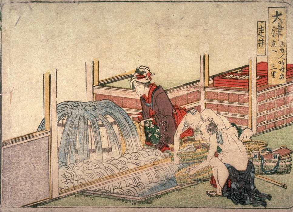 Running Well At Otsu by Katsushika Hokusai (1760-1849, Japan) | Museum Quality Reproductions | WahooArt.com