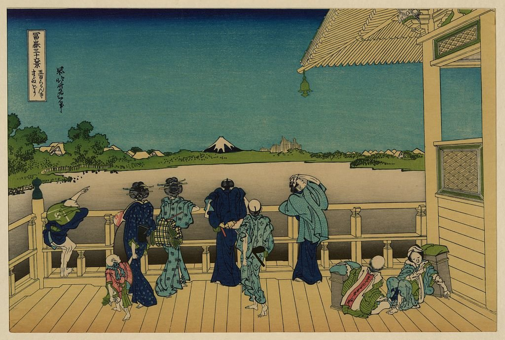 Sazai Hall, Temple Of Five Hundred Rankan by Katsushika Hokusai (1760-1849, Japan)
