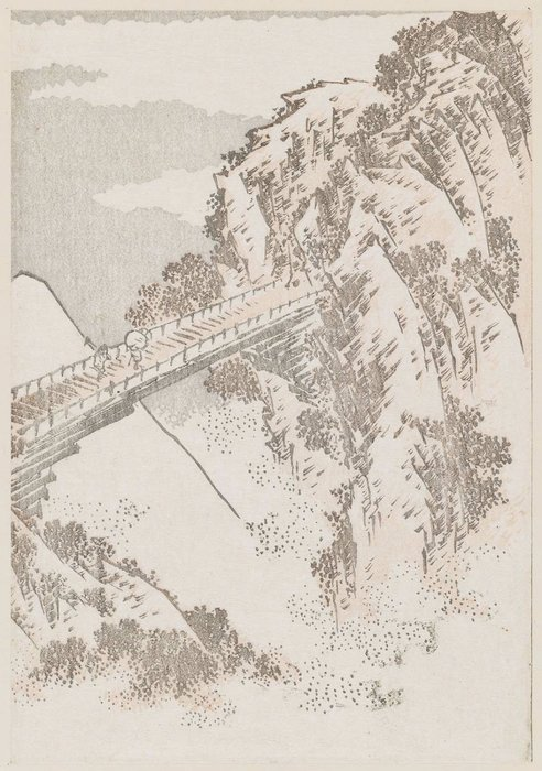 Shinano Province, Iwabashi Bridge by Katsushika Hokusai (1760-1849, Japan)