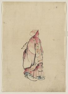 Katsushika Hokusai - Side View Of A Monk, Full-length Portrait, Facing Left, Wearing Gown With Hood