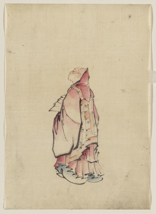 Side View Of A Monk, Full-length Portrait, Facing Left, Wearing Gown With Hood by Katsushika Hokusai (1760-1849, Japan)