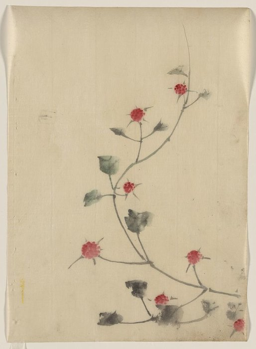 Small Red Blossoms On A Vine by Katsushika Hokusai (1760-1849, Japan) | Oil Painting | WahooArt.com