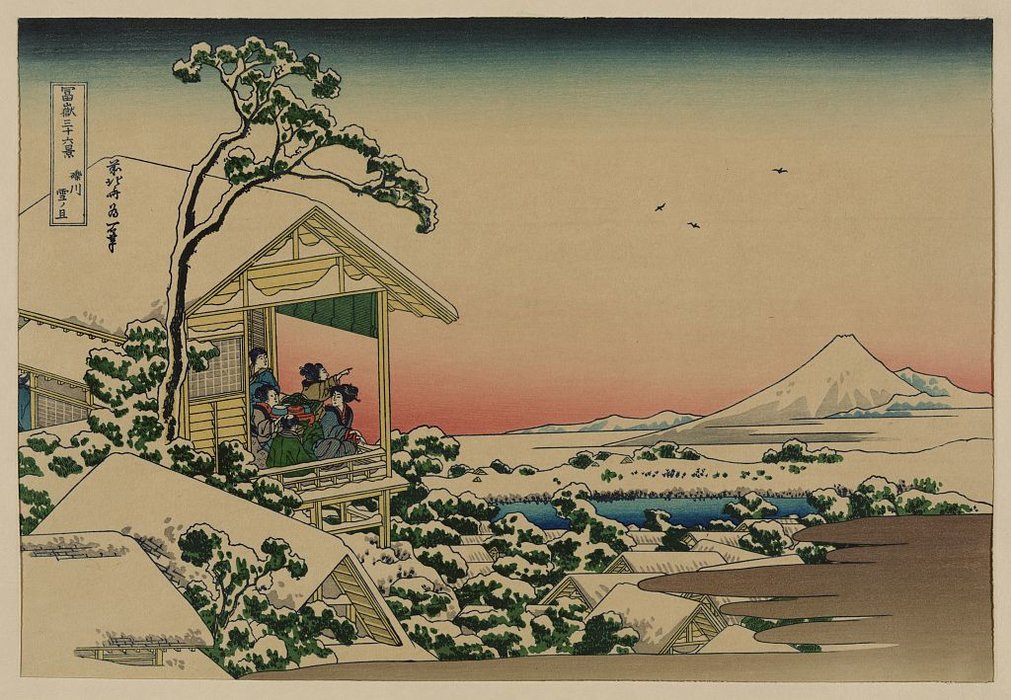 Teahouse At Koishikawa The Morning After A Snowfall by Katsushika Hokusai (1760-1849, Japan)