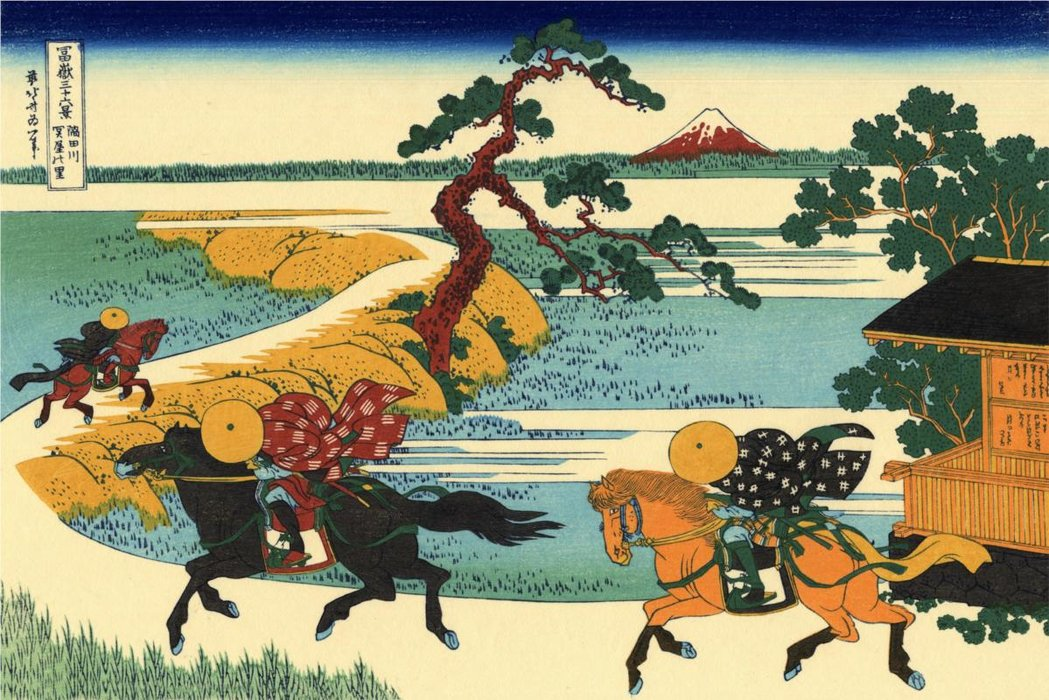 The Fields Of Sekiya By The Sumida River by Katsushika Hokusai (1760-1849, Japan) | Famous Paintings Reproductions | WahooArt.com