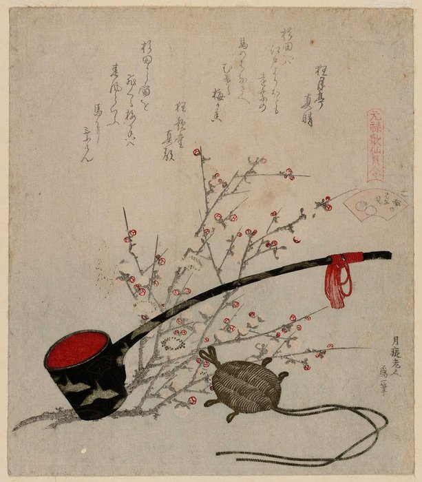 The Plum-blossom Shell by Katsushika Hokusai (1760-1849, Japan) | Painting Copy | WahooArt.com