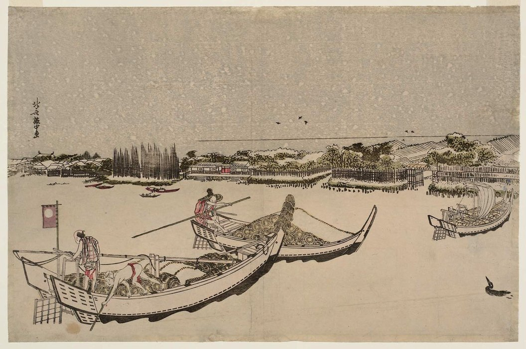 The Sumida River In Snow by Katsushika Hokusai (1760-1849, Japan)