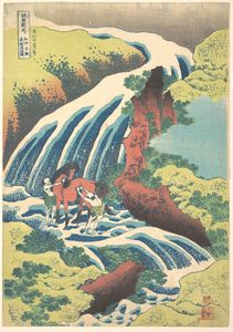 Katsushika Hokusai - The Waterfall Where Yoshitsune Washed His Horse At Yoshino In Yamato Province