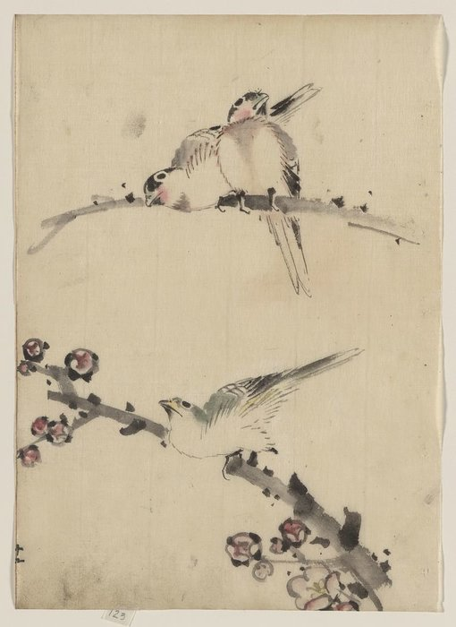 Three Birds Perched On Branches, One With Blossoms by Katsushika Hokusai (1760-1849, Japan)