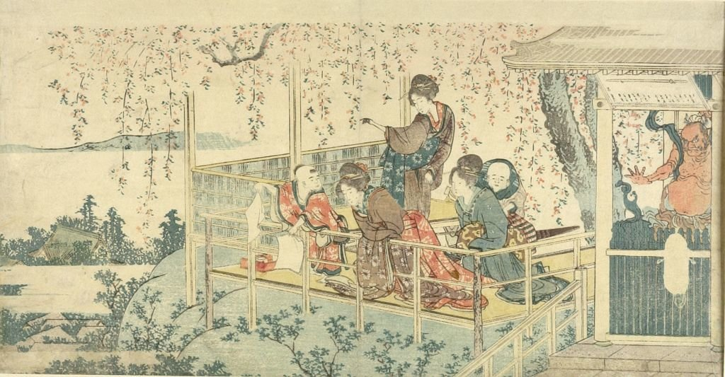 Three Women And Two Children On Balcony by Katsushika Hokusai (1760-1849, Japan)
