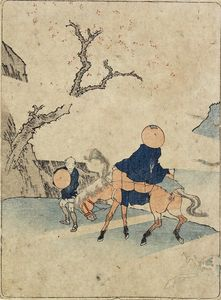 Katsushika Hokusai - Traveler On Horseback Under Bloomed Cherry Tree