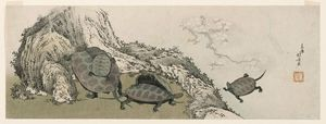 Katsushika Hokusai - Turtles And Reflected Plum Branch