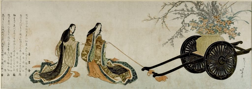 Two Court Ladies Pulling Flower Cart by Katsushika Hokusai (1760-1849, Japan) | Oil Painting | WahooArt.com