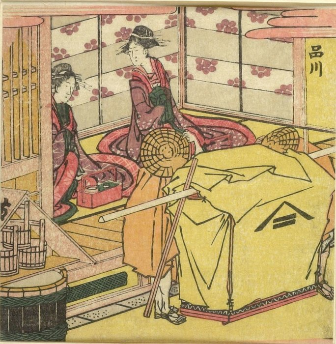 Order Fine Art Print Two Courtesans Greeting by Katsushika Hokusai (1760-1849, Japan) | WahooArt.com | Order Textured Print Two Courtesans Greeting by Katsushika Hokusai (1760-1849, Japan) | WahooArt.com