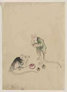 Katsushika Hokusai - Two Mice, One Lying On The Ground With Head Resting On Forepaws