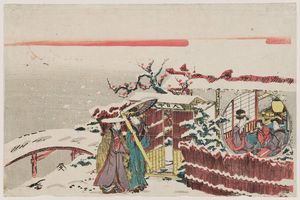 Katsushika Hokusai - Two Women Visiting Others At A Pavilion In Snow