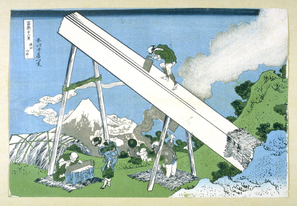 View Of Mount Fuji Men Working In The Foreground by Katsushika Hokusai (1760-1849, Japan) | Oil Painting | WahooArt.com