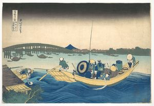 Katsushika Hokusai - Viewing The Sunset Over Ryôgoku Bridge From The Onmaya