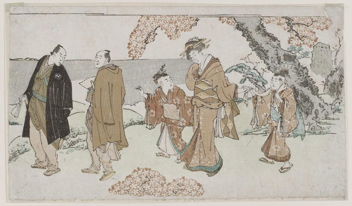 Walking Under Cherry Blossoms by Katsushika Hokusai (1760-1849, Japan)