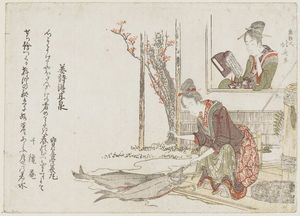 Katsushika Hokusai - Woman Cleaning Fish As Another Woman Reads A Book