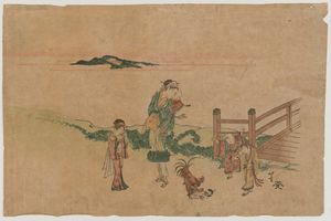 Katsushika Hokusai - Woman, Children, And Chickens