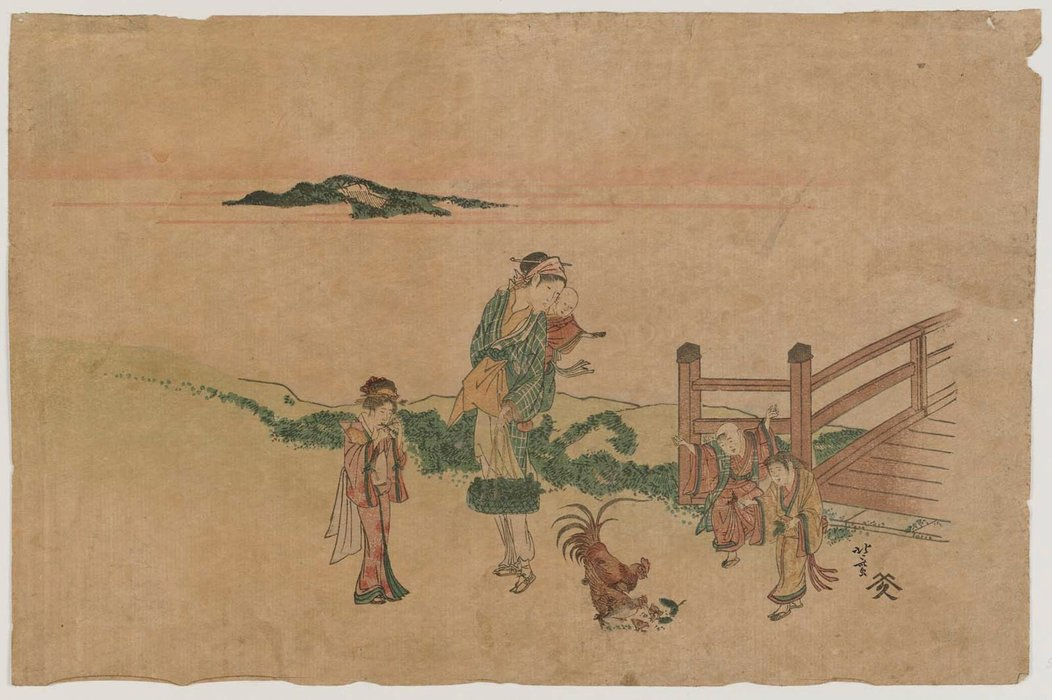 Woman, Children, And Chickens by Katsushika Hokusai (1760-1849, Japan) | Oil Painting | WahooArt.com