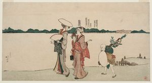 Katsushika Hokusai - Women And Children Returning Along The Bank Of The Sumida From A Visit To A Shinto Shrine