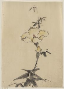 Katsushika Hokusai - Yellow Blossom With Bud On A Stalk Above Leaves