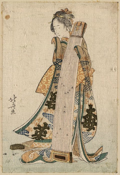 Young Maiden Holding A Zither by Katsushika Hokusai (1760-1849, Japan)