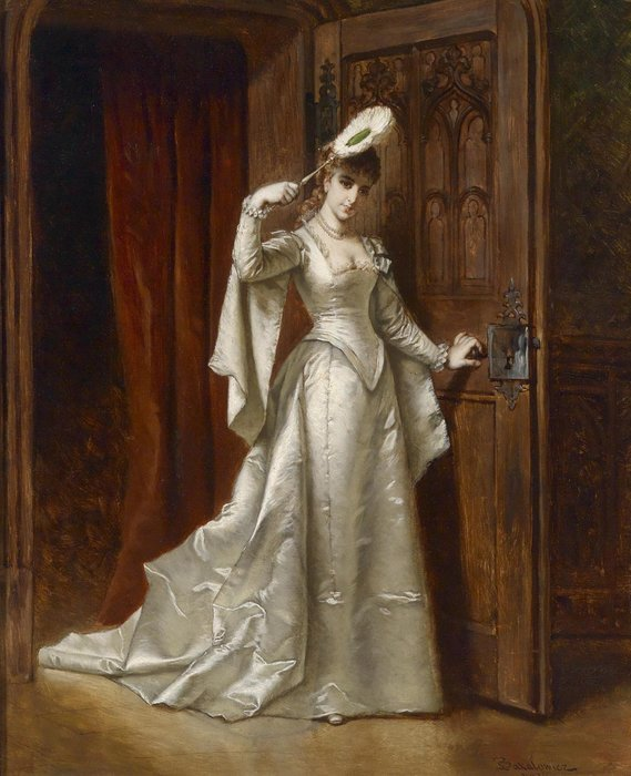 Elegant Lady In A White Damask Dress by Ladislaus Bakalowicz (1833-1903, Poland) | Museum Quality Reproductions | WahooArt.com