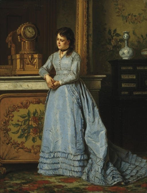 The Blue Dress by Ladislaus Bakalowicz (1833-1903, Poland) | Famous Paintings Reproductions | WahooArt.com