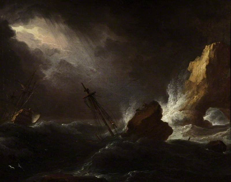 Seascape In Stormy Weather by Lukas Moser (1390-1434) | WahooArt.com