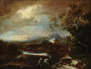 Lukas Moser - Stormy Mountainous Italianate Landscape With Travellers