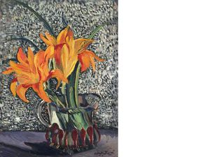 Richard Hayley Lever - Still Life With Lilies, Monarch Butterfly