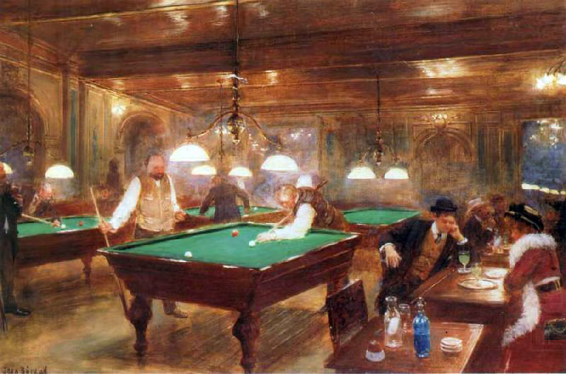 The Billiard Parlor by Jean Georges Béraud (1849-1936, France) | Paintings Reproductions Jean Georges Béraud | WahooArt.com
