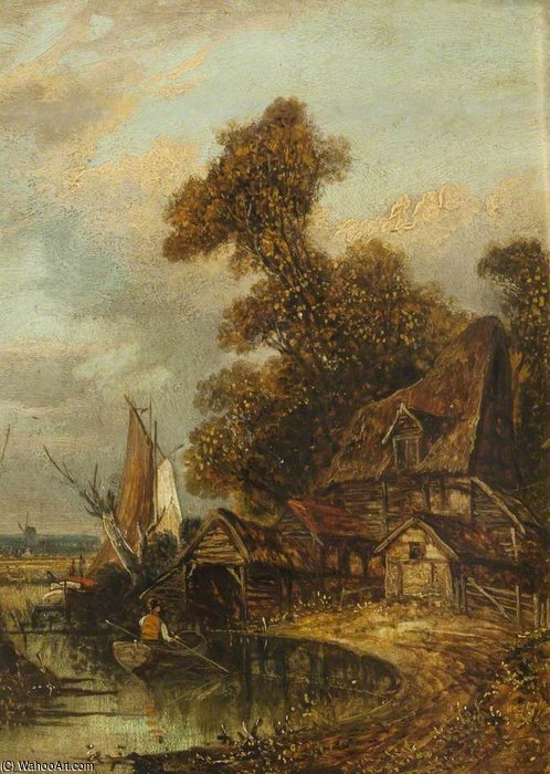 River View Near Norwich by John Paul (1946-1887, United Kingdom) | Famous Paintings Reproductions | WahooArt.com