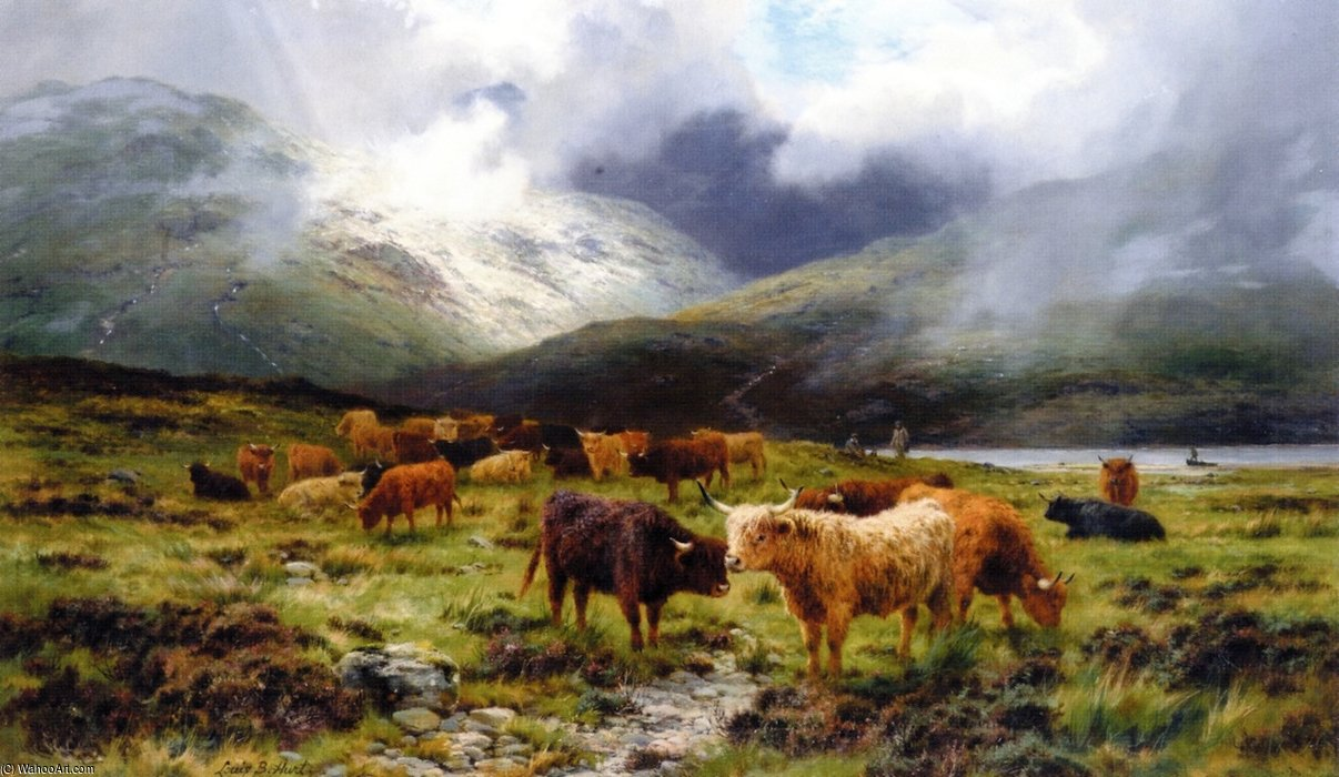 A Highland Drove by Louis Bosworth Hurt (1856-1929, United Kingdom) | Famous Paintings Reproductions | WahooArt.com