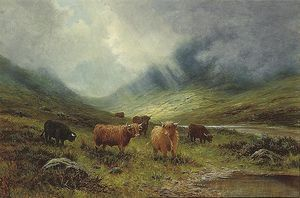 Louis Bosworth Hurt - A Highland Landscape With Cattle Beside A River