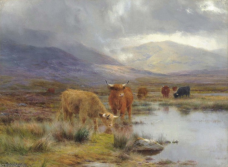 A Rainy Day In The Highlands by Louis Bosworth Hurt (1856-1929, United Kingdom) | Art Reproduction | WahooArt.com