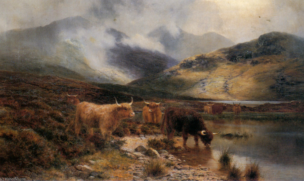 Argyllshire Loch Between The Showers by Louis Bosworth Hurt (1856-1929, United Kingdom) | Painting Copy | WahooArt.com