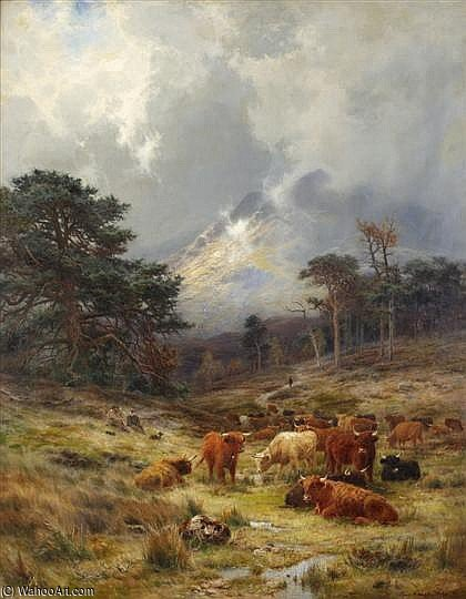 Braes At Orchy, Argylshire by Louis Bosworth Hurt (1856-1929, United Kingdom)