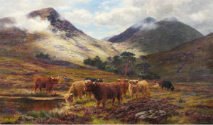 Louis Bosworth Hurt - Cattle In A Highland Landscape