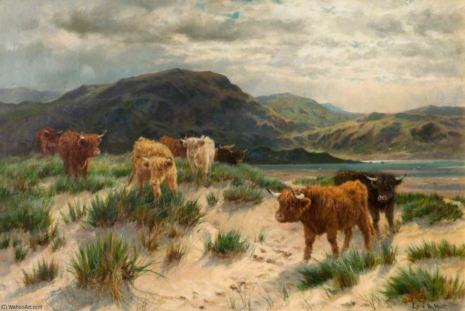 Cattle On The Ayrshire Coast by Louis Bosworth Hurt (1856-1929, United Kingdom) | WahooArt.com