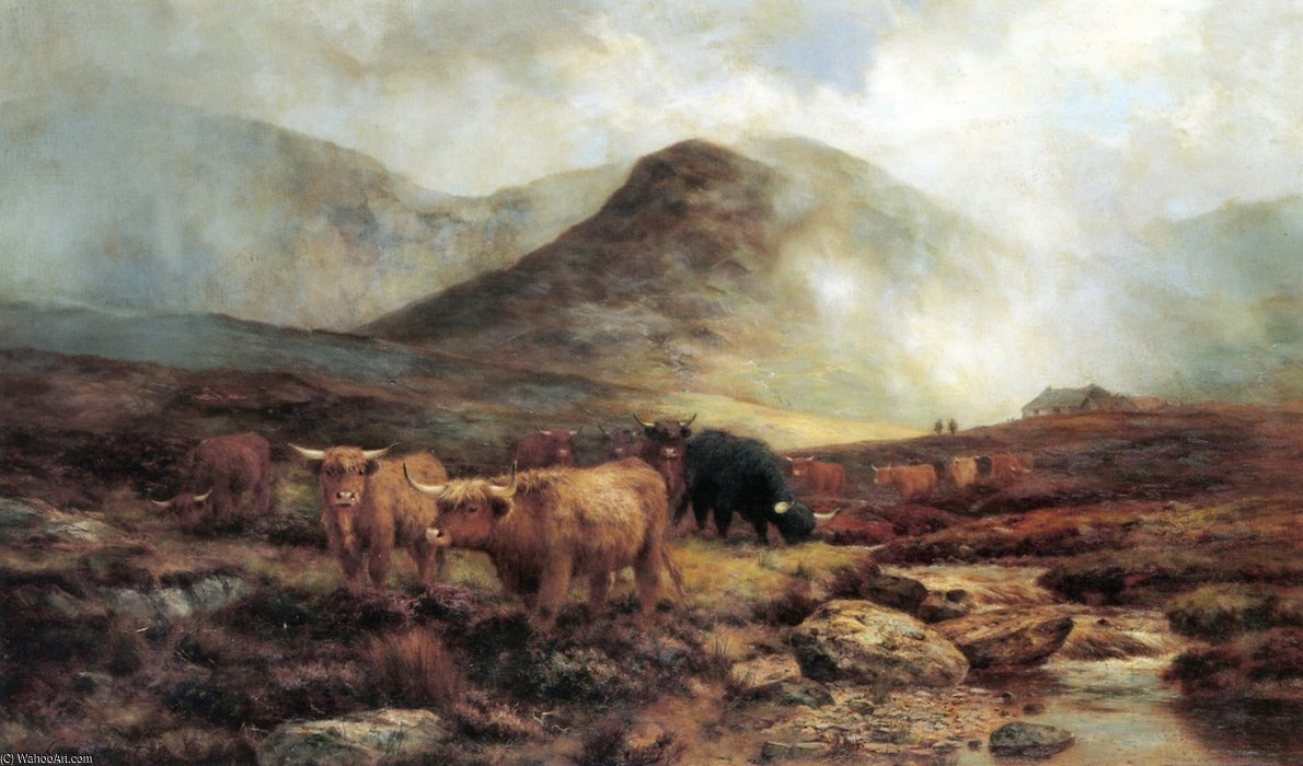 Crossing A Skye Moorlands Showers On The Hills by Louis Bosworth Hurt (1856-1929, United Kingdom) | Art Reproduction | WahooArt.com