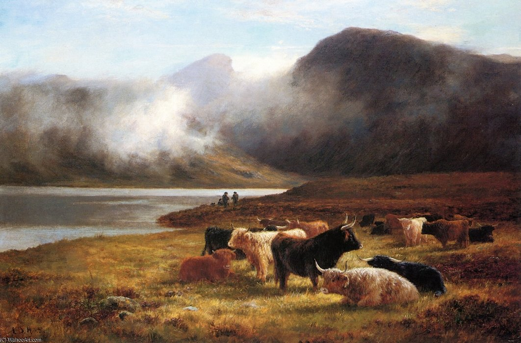 Evening In The Highlands by Louis Bosworth Hurt (1856-1929, United Kingdom)